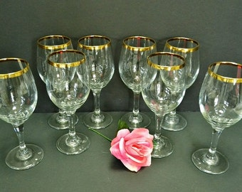 Gold and Crystal Wine Glasses