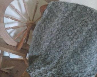Handspun, crochet,pure wool knee rug