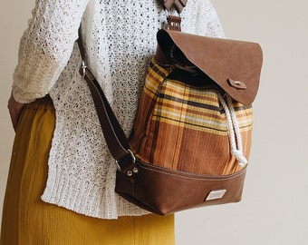 OCHER - Canvas Leather Backpack