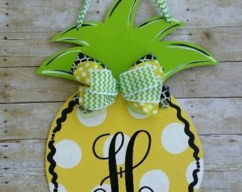 Pineapple door decoration, door hanger , wreath, monogrammed