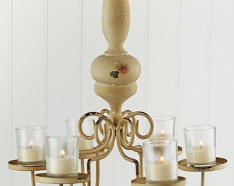 Chandelier, Candle Chandelier in Wood And Metal, Metal Chandelier  Simply Beautiful !