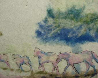 Original wool painted picture Horses  felt art Wool picture