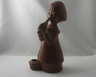 Goebel W. Germany. Candlestick. Music angel: Angel musician with flute. Terracotta / ceramic, brown. H 15 cm. VINTAGE Christmas decoration