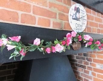 Pink Rose flower garland, Artificial silk flower swag, Silk Roses and Freesias, Pink Rose and Freesia hanging