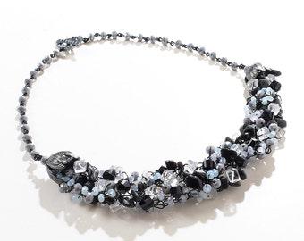Black/Grey/White Wire Crochet Statement Necklace