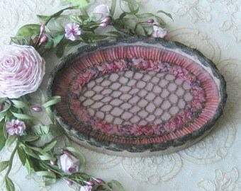 French Antique / Vintage Boudoir Tray with Pink Ribbonwork and Metallic Lace