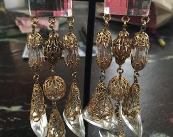 1980s Babylone,Paris lucite earrings in gold filigree,Stunning