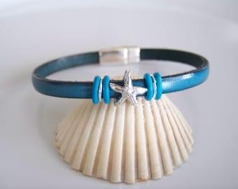 Leather Starfish Focal Bracelet - Item R3437