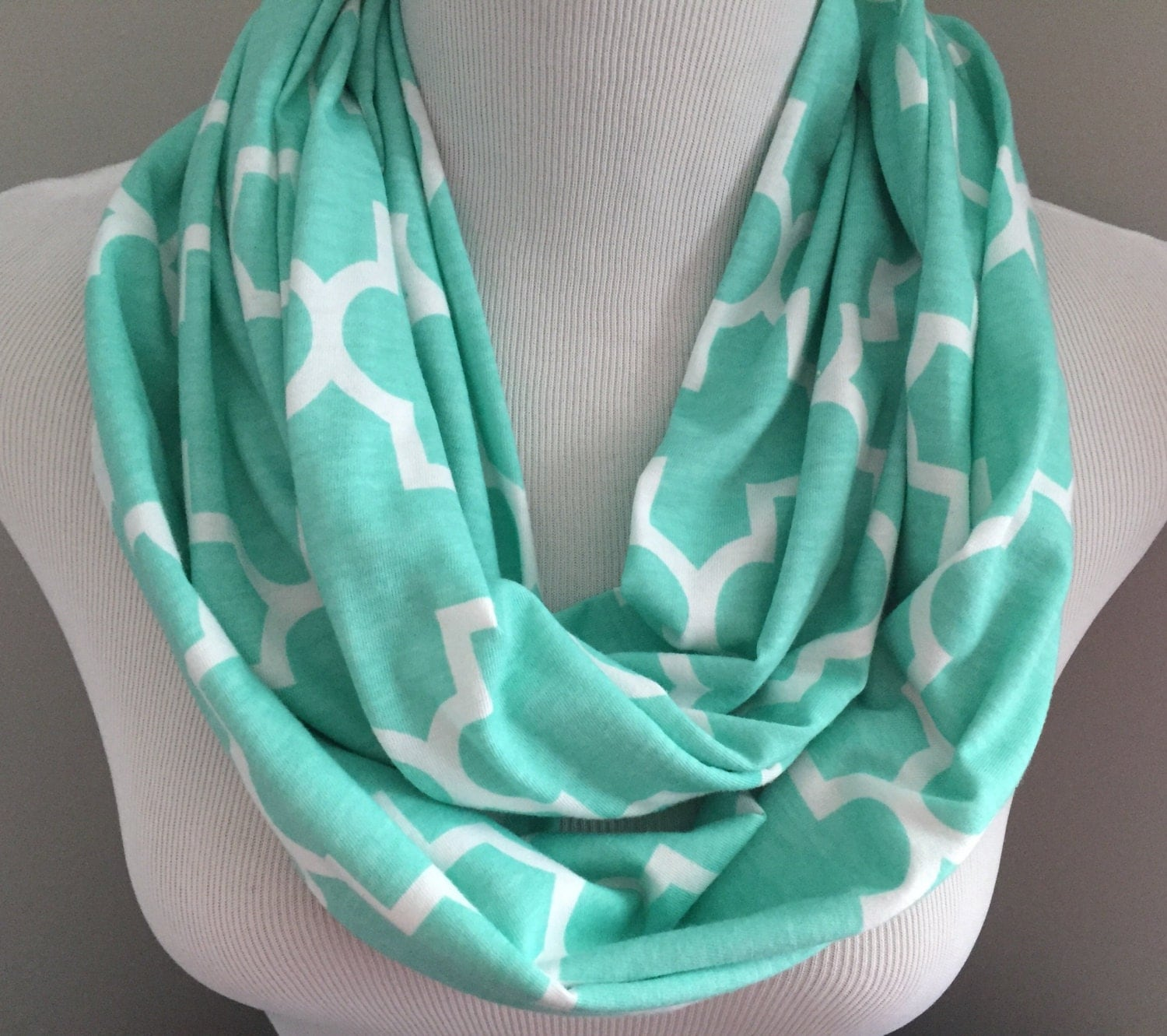 Mint Quatrefoil Infinity Scarf Womens Fall Gift Under 20 Fashion