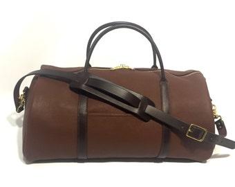 Duffel Bag - Brown Leather - Amish Made - Full Grain Leather - Weekend Duffle Bag - Men's Luggage - Leather Bag - Men's Gift - Groomsmen