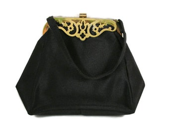 Black Evening Bag with Decorative Brass Hardware Accents