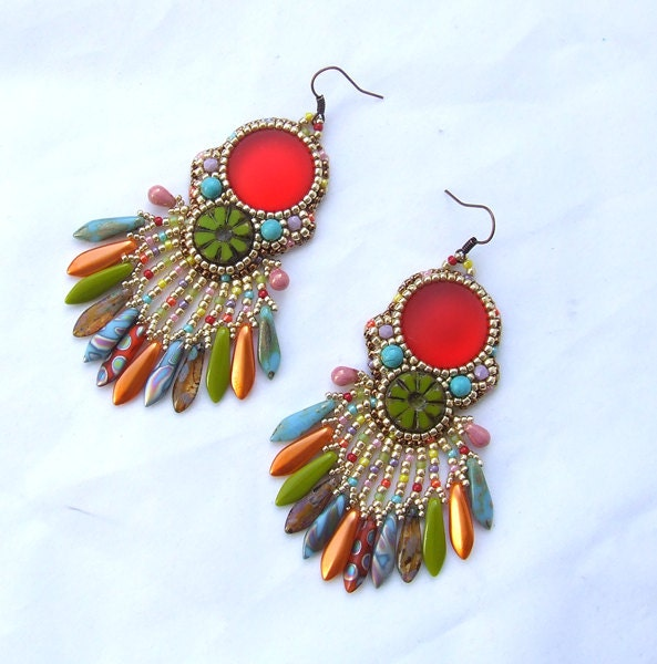 Bead embroidery earrings kit beaded colorful