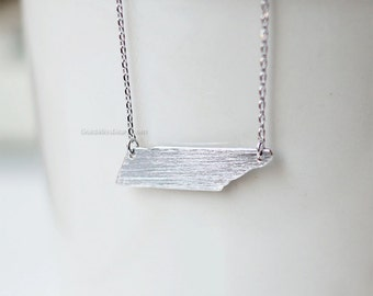Tennessee State Necklace in silver , TN state gold necklace, tennessee state bar necklace, tennessee pride, Nashville necklace