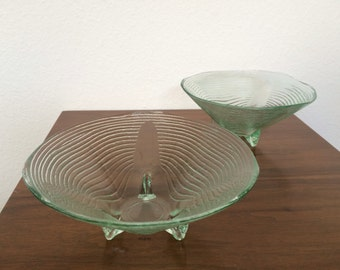 Modernist Footed Glass Bowls
