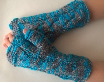 Multicolor ( gray, blue ) fingerless gloves, fingerless mittens, wrist warmers. Handmade, knitted of wool and acrylic. CABLE gloves.
