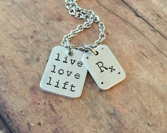 Jewelry for Crossfitter, Rx As Prescribed LIVE LIVE LIFT Workout Fitness Charm Necklace