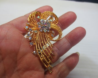 Gorgeous High Quality Gold Tone Aura Borealis Rhinestone Bow Brooch