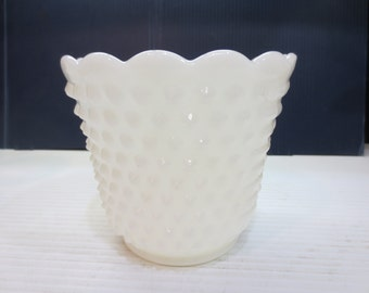 Vintage Milk Glass Planters/Vases with Hobnail and Ladder Design