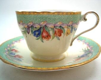 Antique  Aynsley green and floral Tea Cup And Saucer, English tea cup and saucer set.