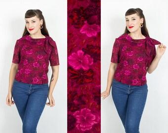 Vintage 60s FLORAL Bow Tie Blouse | 1960s Pink Purple Floral Print Crop Top (large)