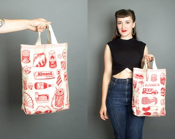 Vintage 1979 Shopping Novelty Print Tote Bag | 70s 1970s Red Canvas Purse Retro Grocery Bag