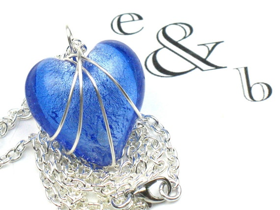 Blue Heart Necklace in Cornflower with Silver Chain, Best Seller