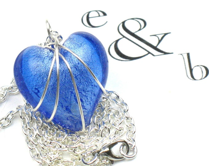 Blue Heart Necklace in Cornflower with Silver Chain