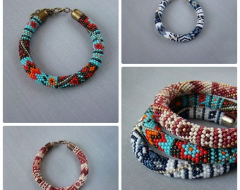 Beaded bracelet Colorful bracelet Bead crochet rope bracelet Patchwork glass bead bracelet Beadwork bracelet Bright Ethnic bracelet boho