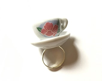 Teacup and saucer ring, upcycled, repurposed jewelry, miniature teacup ring