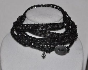 SALE! Wrap Bracelet Smoky Crystal #519