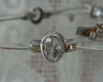 Silver Sterling 925 Vintage Tennis Bracelet Crystal Oval #560