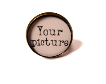 Custom Photo Ring - Picture Ring - Photo Jewelry 25mm Photo -bronze  Setting - Mothers Day Mom Mimi Nana Grandma