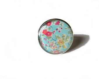 Flowers ring, light blue flowers ring, Flower ring, Blue ring, Garden, Girlfriend gift, Teens gift, Nature, Hippy