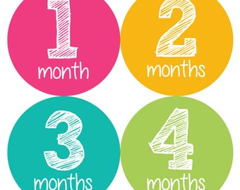 Baby Month Stickers, Monthly Baby Girl Stickers, Baby Month Girl Stickers  - Baby Girl, Baby Shower Gift, Pink, Teal, Chalkboard