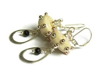 Ivory Dotted Lampwork Earrings. Trendy Dangle Earrings. Gemstone Earrings