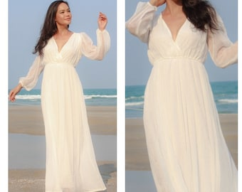 Wedding white dress chiffon long sleeve v neck long maxi dress All size