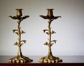 Modern Art Nouveau Cast Brass Candlesticks India