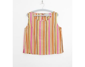 Vintage top // silk pastel striped boxy top