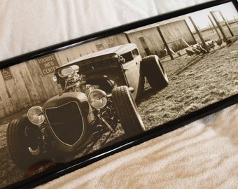 """Framed 12x36 inch (large) panoramic poster of old farm scene with a Ford """"rat rod"""" in a chicken coop!"""