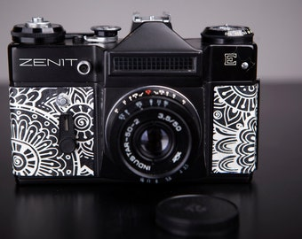 Vintage Camera Zenit-E.SLR Film Camera. Working.Replaced body cover.