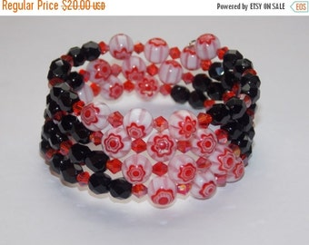 40%OFF Red Millefiori and Black Czech Glass Wrap Bracelet