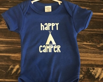 Happy Camper with Tee Pee onesie, creeper, bodysuit, unisex, personalized gift