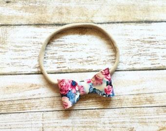floral bow headband.floral mini bow.floral bow.faux leather bow.floral leather bow.mini bow headband.floral baby headband.floral headband.