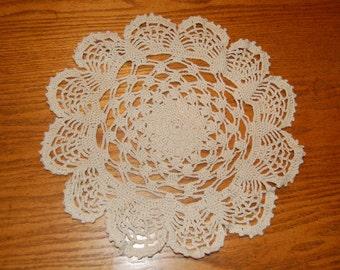 Vintage Ecru Doily, Crocheted Doily, Round Doily, Scalloped Edge Doily, Table Decor, Dresser Decor