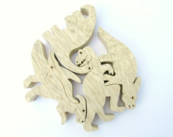 Wooden toy , Natural Wood Puzzle , Wooden Dinosaurs Toy Set , Waldorf toy , Eco-friendly toy , Educational Toy