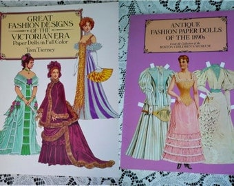 2 Vintage Cut Out Paper Doll Books  Victorian, Edwardian, Exc. Condition