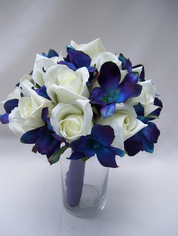 Jennifer's Bridal Bouquet with Blue Violet Dendrobium