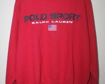 Vintage Polo Sport Ralph Lauren Spell Out USA Flag Sweatshirt Stadium Ski P wing