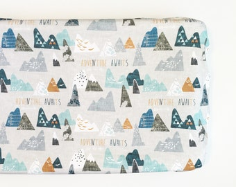 Fitted Changing Pad Cover Maxs Mountain. Change Pad. Change Pad Cover. Nursery Bedding. Woodland Changing Pad.
