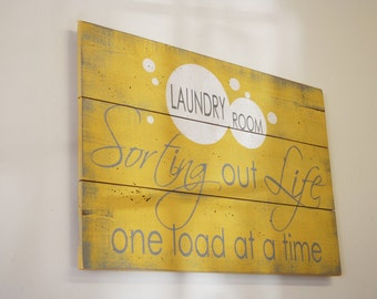 Laundry Sign Wood Pallet Sign Laundry Room Decor Wood Sign Shabby Chic Decor Vintage Wood Decor Handpainted Sign Rustic Sign Wall Decor
